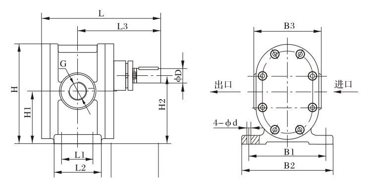 2CY型泵外型、安装尺寸图